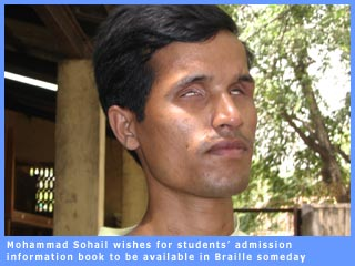 Sohail hopes one day D.U. information book will be available in Braille