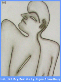 A picture of an untitled painting by Jogen Chowdhury. It dpicts a human form drawn with dry pastels.