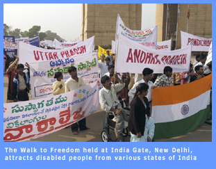 Picture of Walk to Freedom which has become a rallying point for the disability movement in India