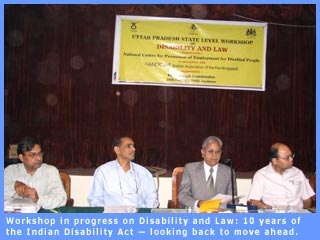 Workshop in progress on Disability and Law: 10 years of the Indian Disability Act — looking back to move ahead.