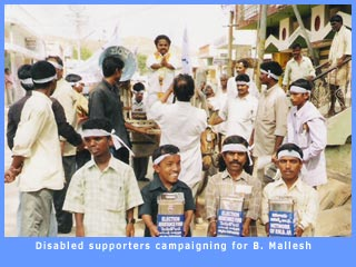Disabled supporters campaigning for B. Mallesh