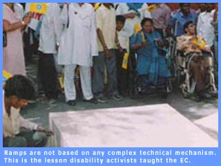 Picture of disability actvists demonstrating the making of a make-shift ramp