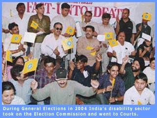 Picture of participants in a dharna outside Election Commission's office ahead of 2004 General Election