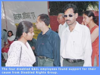 Picture of four disabled employees sacked by GAIL in the dharna