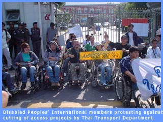 Picture of DPI protestors in Thailand on WDD