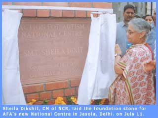 Sheila Dikshit, CM of N.C.R., laying the foundation stone of the A.F.A.