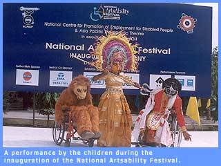 A picture of a play being performed during the inauguration of the National Artsability Festival.