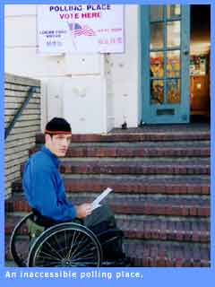 Picture of a wheelchair user unable to reach the polling booth because of stairs.