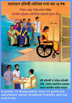 Picture of a Bangladeshi poster advocating accessibility for polling purposes.
