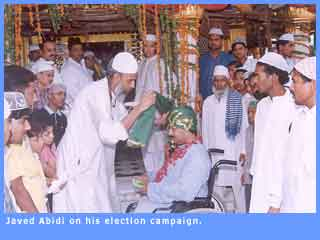 Picture of Javed Abidi during campaigning.