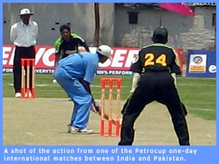 Picture of a match in progress during the recent Indo-Pak blind cricket series