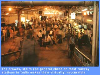 Picture of a railway station depicting its inaccessibility to persons with disabilities