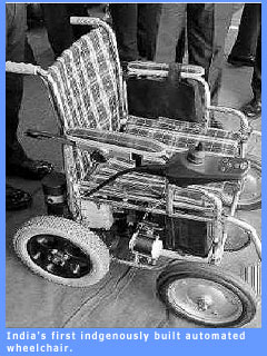Picture of India's first indigenously built motorised wheelchair