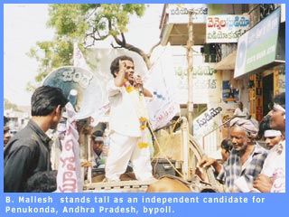 B. Mallesh stands tall as an independent candidate for Penukonda, Andhra Pradesh, bypoll