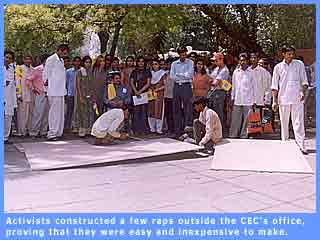 Picture of ramps being constructed outside the CEC's office in Delhi