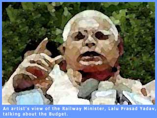 Artist's view of Railway Minister, Lalu Prasad Yadav, talking about the Railway Budget