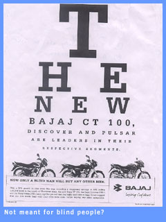 Picture of the offending Bajaj advertisement