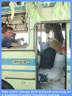 Picture of inaccessible bus in Vietnam