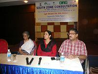 Javed Abidi, Vandana Bedi and G. Syamala at the South Zone Consultation