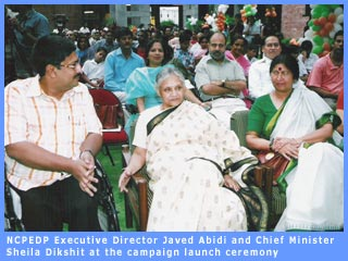 Picture of Delhi Chief Minister Sheila Dikshit and Javed Abidi at launch function