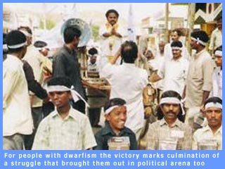 Picture of B. Mallesh raising demands of people with dwarfism in recent Andhra assembly bye-election