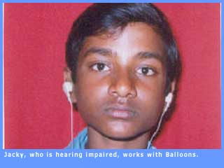 Picture of Jacky, who is hearing impaired, and works with the organisation Balloons.