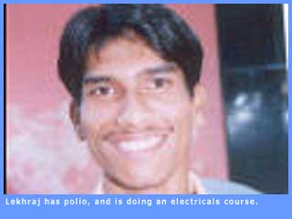 Picture of Lekhraj, who has polio and is currently doing an electricals course.