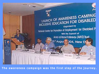 Arjun Singh, Minister, HRD, is initiating plans for inclusive education.